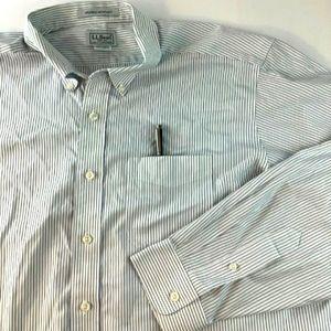 LL Bean Button Down Shirt Wrinkle Free Sz 17 White